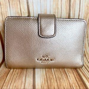 Coach Corner Zip Leather Wallet Metallic F54010